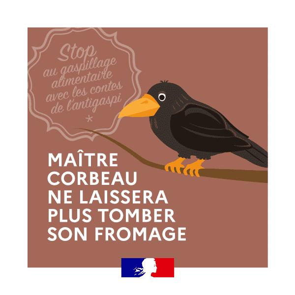 Campagne de sensibilisation reprenant Maître Corbeau et son fromage